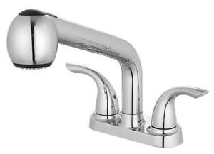 details about solid brass 4 centerset 3 hole 2 handle pull out sprayer laundry tub faucet