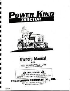 Power King 1200 Series Garden Tractor Parts & Operator's