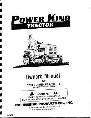 Power King 1200 Series Garden Tractor Parts & Operator's