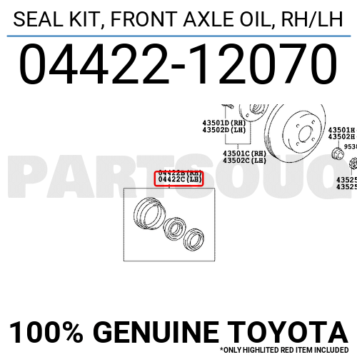 0442212070 Genuine Toyota SEAL KIT, FRONT AXLE OIL, RH/LH