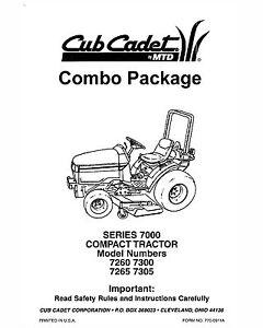 Cub Cadet 7260-7265-7300-7305 Lawn Tractor Manuals Combo
