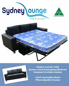 sofa bed with innerspring mattress classic microsuede slipcover australian made napier leather 3 seater queen 4 details about lounge