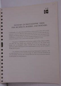 Kodak 1972 Glossary Photographic Terms Architects Builders