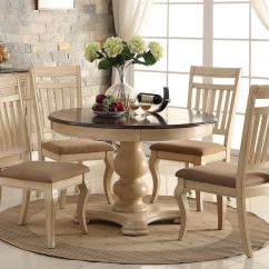 White Washed Oak Dining Table And Chairs Kids Plastic Chair New 5pc Antique Wash Cherry Finish Wood Round