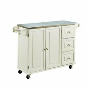 stainless kitchen cart cabinets near me home styles liberty with steel top in white stock photo