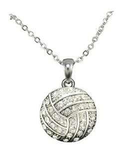 Volleyball Clear Crystal Silver Plated Chain Necklace