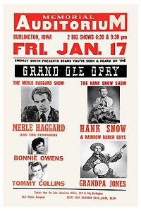 details about country great merle haggard hank snow more concert poster