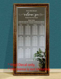Image is loading custom wedding table seating chart plan sticker vinyl also decal sign rh ebay