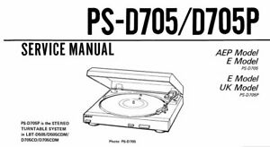 SONY PS-D705 PS-D705P SERVICE MANUAL BOOK IN ENGLISH