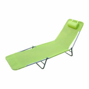 reclining beach chairs shaw walker chair foldable chaise lounge adjustable patio cot w image is loading