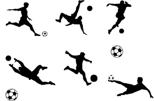 Football Sport Silhouettes Edible A4 Icing Sheet Cake
