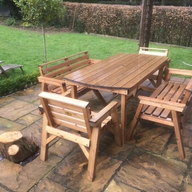 style solid wood garden patio furniture set 6 ft table 2 bench 2 chairs
