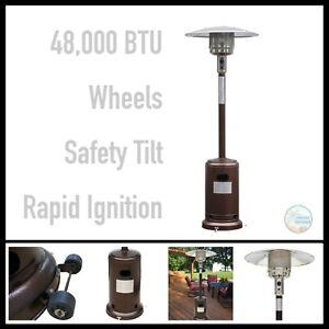details about gardensun outdoor patio heater 48000 btu bronze powder coated steel wheels