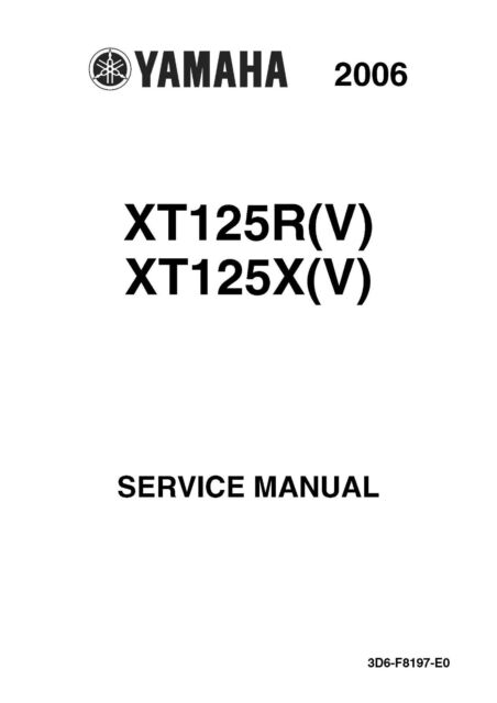 Yamaha service workshop manual 2006 XT125R (V) & XT125X (V