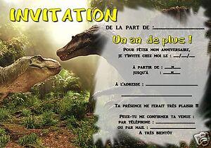 details sur 5 ou 12 cartes invitation anniversaire dinosaure ref 306