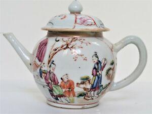 Antique Chinese Export Famille Rose Mandarin Porcelain Teapot 18th Century
