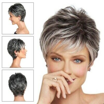 Short Pixie Cut Ombre Silver Grey Wigs Natural Gray Hair Short Wig