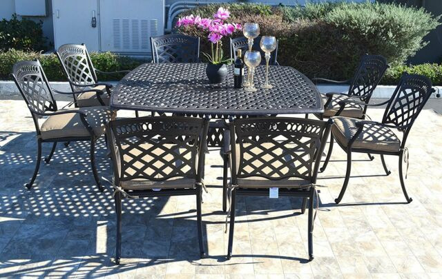 cast aluminum patio dining set 9pc outdoor furniture square nassau table 8 chair