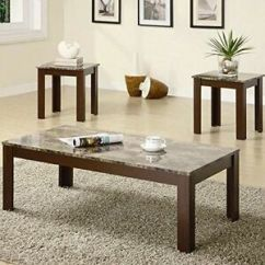 3 Piece Table Set For Living Room Update Coffee And End Faux Marble Top Stock Photo