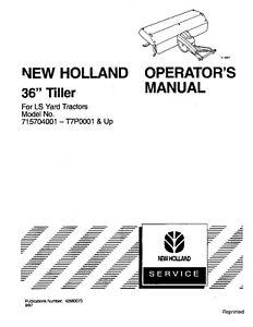 NEW HOLLAND 36 Inch Tiller OM For LS Yard TRACTOR