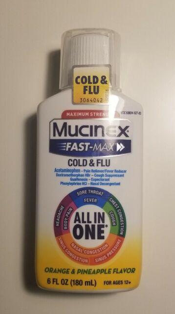 Mucinex Fast-Max All-In-One Cold & Flu Orange & Pineapple ...