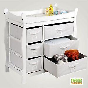 Baby Dresser Changing Table Drawer Nursery Furniture White Wood Changer New  eBay