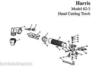 HARRIS MODEL 62-3 CUTTING TORCH BASIC REBUILD REPAIR KIT