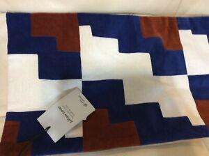 details about west elm staggered steps velvet lumbar pillow cover nwt 12x21 landscape blue
