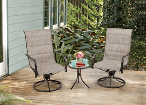 details about patio dining set 3 piece indoor outdoor patio furniture set w swivel chairs bbq