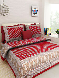 details about 100 cotton rajasthani nature design beautiful king bed sheet 2 pillow covers