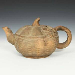CHINESE YIXING PURPLE CLAY POTTERY PUMPKIN MOTIF TEAPOT CHA CHINA 20TH C