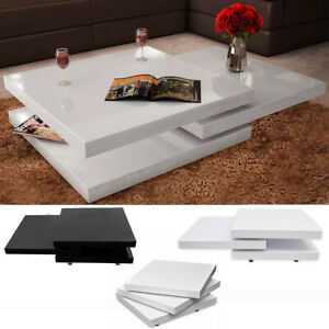 details about 3 layer rotating tray coffee table high gloss black white extendable square