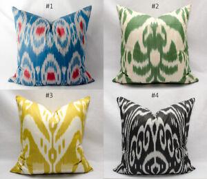 details about new uzbekistan ikat pillow cover cushion ikat yellow blue green handmade ikats