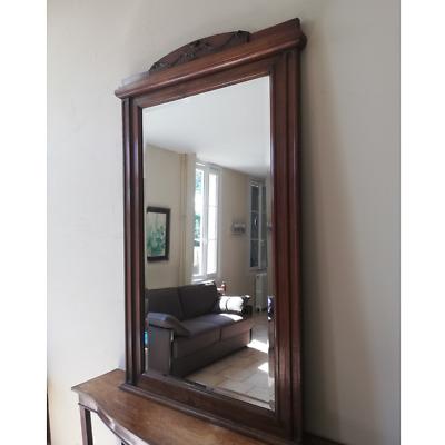 tres grand miroir ancien dessus de cheminee bois miroir biseaute 147 cm ebay
