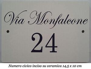 Numero civicovia incisi su piastrella di ceramica 145 x 95 cm  eBay
