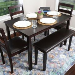 Kitchen Dinette Baldwin Cabinet Hardware 5pc Espresso Dining Table Set Chairs Bench Nook Breakfast Bar Ebay