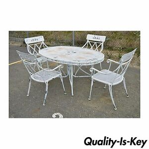wrought iron dining chairs baby glider chair australia vintage hollywood regency set table image is loading