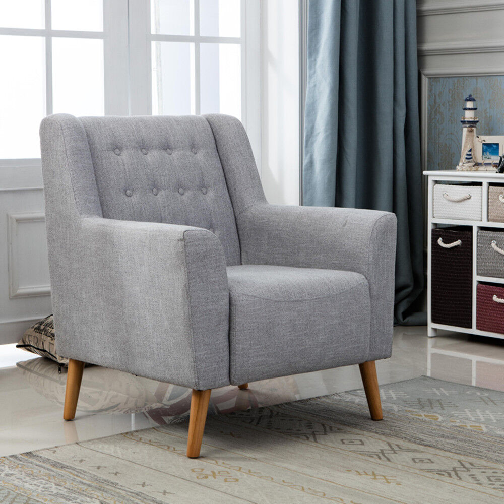 armchairs for living room curtains yellow walls in grey linen fabric retro button back accent armchair tub chair office