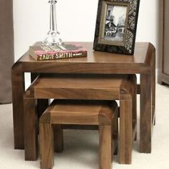 Walnut Furniture Living Room Target Tables Shiro Solid Nest Of Three Coffee Image Is Loading