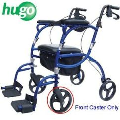 Hugo Navigator Walker Transport Chair Baby Bath Chairs Asda Rollator Transporter 8 Front Caster Wheel C4608 Bk Image Is Loading 034