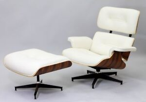 eames chair white chairs with lifts for the elderly herman miller style real leather lounge ottoman image is loading