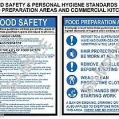 Kitchen Signs For Work Glass Knobs Health Safety 2 A4 Laminated Commercial Food Image Is Loading