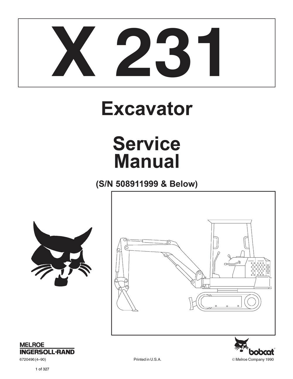 New Bobcat X 231 Excavator Updated 1990 Edition Repair