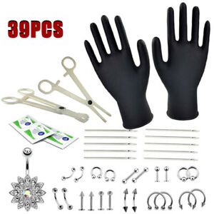39Stk Set Piercingzange Einwegzange Nadel Werkzeug Piercingschmuc