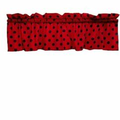 Red Kitchen Valance Trolley Cart Lovemyfabric Cotton Black Polka Dots Print On Image Is Loading