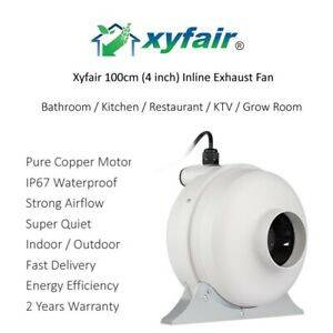 details about xyfair 4 inch inline ventilation duct fan 2 speed modes ip67