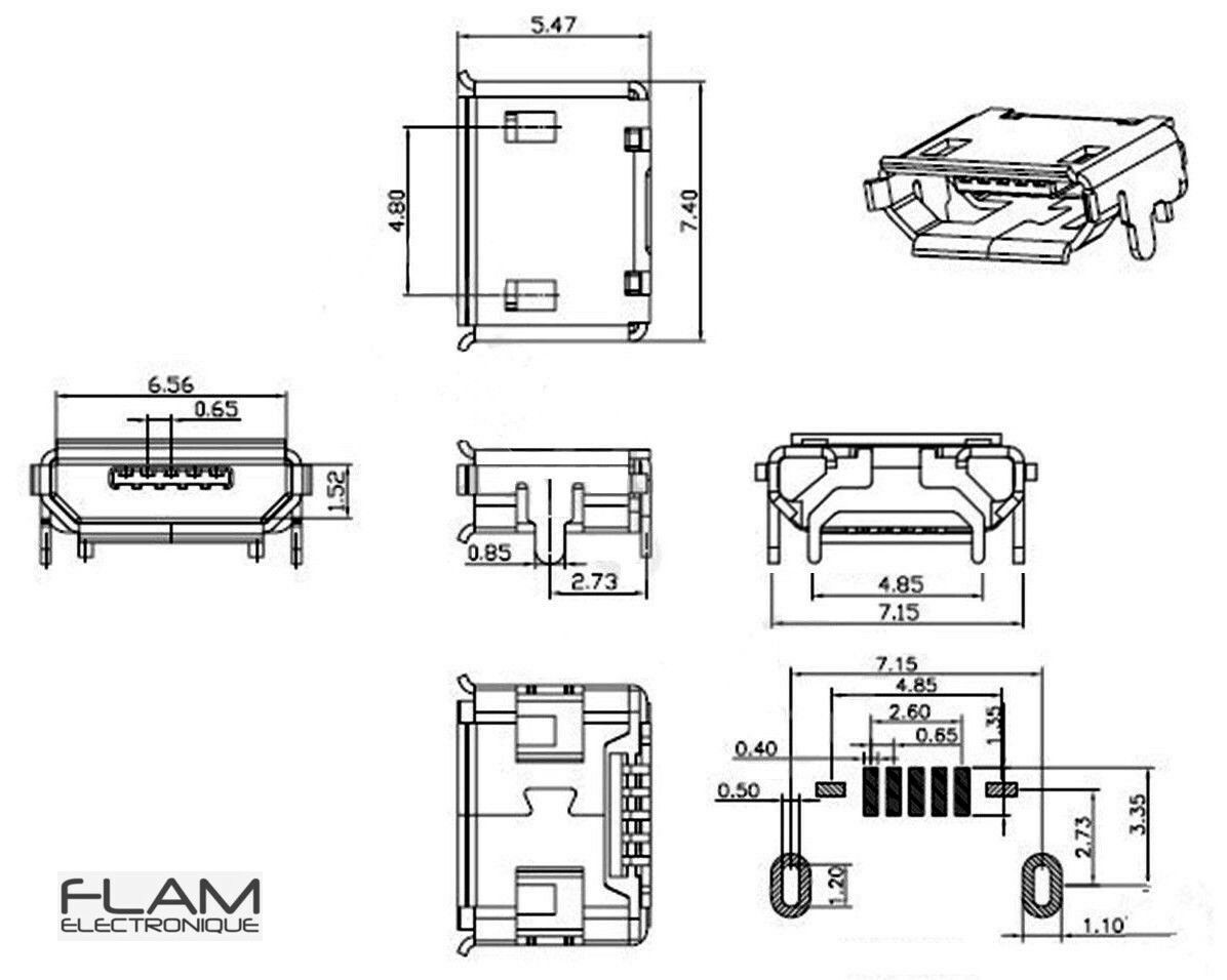 2x Connecteur A Souder Micro Usb Type B Femelle 2x