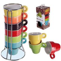 SET OF 6 ESPRESSO COFFEE TEA MUGS WITH STAND LATTE CERAMIC ...
