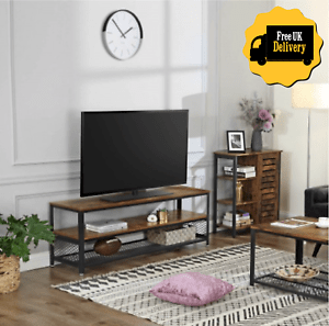 details about vintage industrial tv stand rustic coffee table metal media cabinet wood unit uk