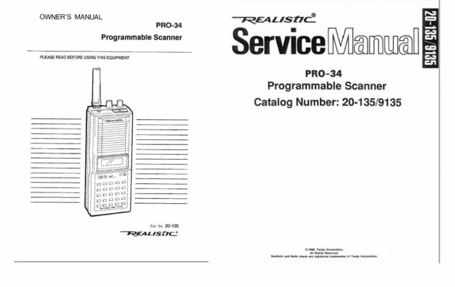 RADIO SHACK PRO-34 PHOTOCOPY OPERATING MANUAL + SERVICE